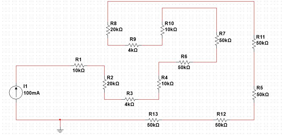 Example of series connected resistors
