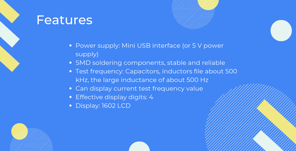 features of Capacitance and inductance tester