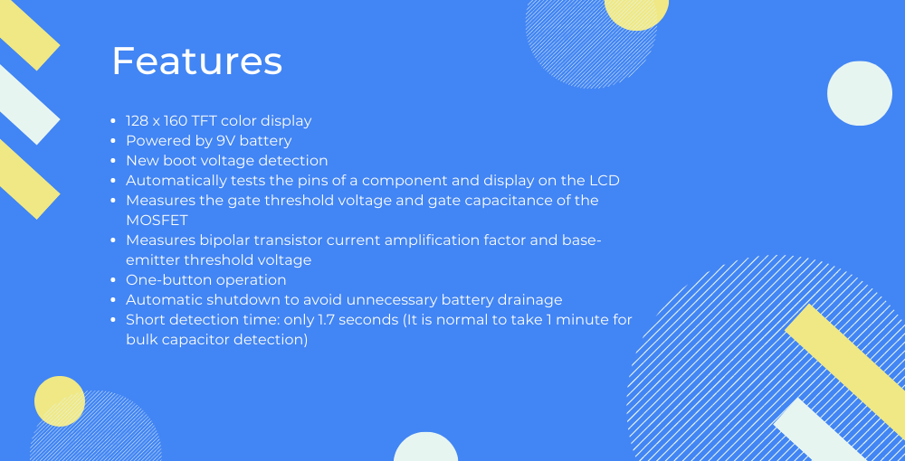 features of Multi-purpose M328 transistor tester