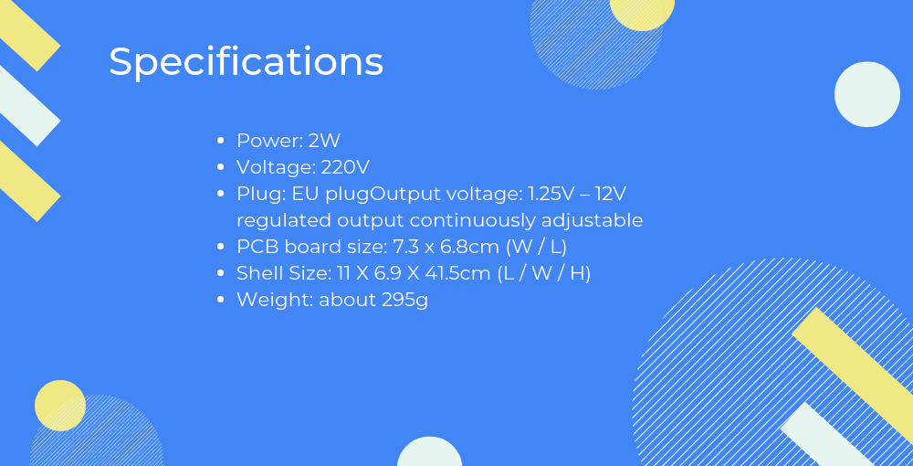 Specifications of Lm317 variable power supply DIY kit